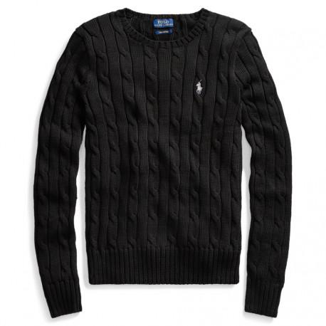 Pull col rond Ralph Lauren noir logo blanc torsadé pour femme