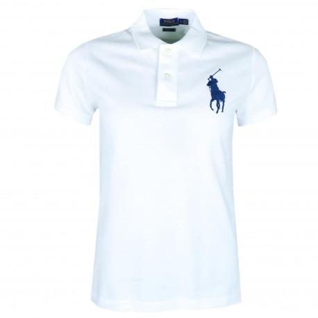 Polo Ralph Lauren blanc big poney bleu marine pour femme