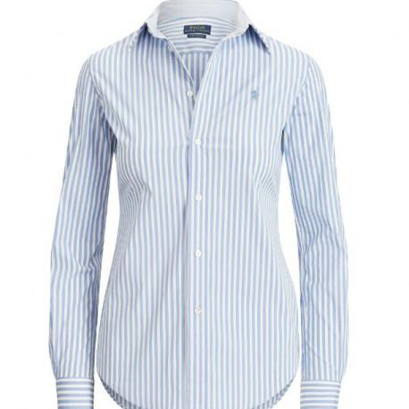 Chemise Ralph Lauren bleu et blanche rayée slim pour femme