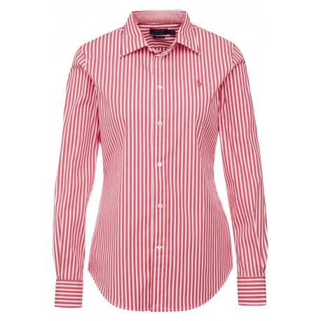 Chemise Ralph Lauren rouge et blanche rayée logo rouge slim pour femme