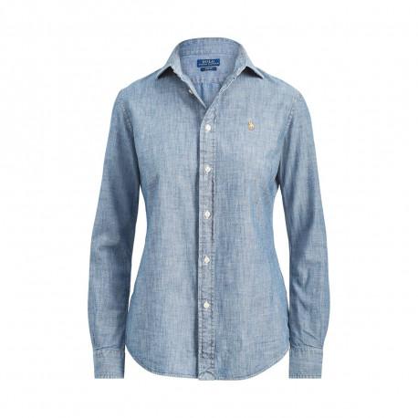 Chemise Ralph Lauren bleu chambray slim fit pour femme