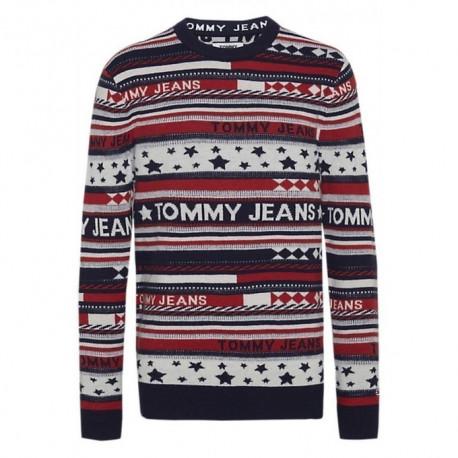 Pull Tommy Jeans bleu blanc rouge à motifs esprit noël pour homme