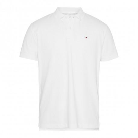 Polo Tommy Jeans blanc basique en piqué pour homme