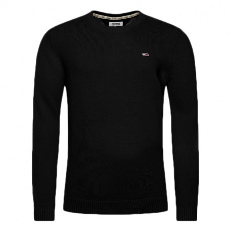 Pull col rond Tommy Jeans noir en maille pour homme
