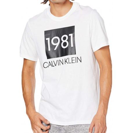 T-shirt col rond Calvin Klein blanc 1981 pour homme