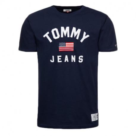 T-shirt col rond Tommy Jeans bleu marine drapeau USA pour homme