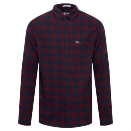 Chemise à carreaux Tommy Jeans bleu marine et rouge bordeaux pour homme