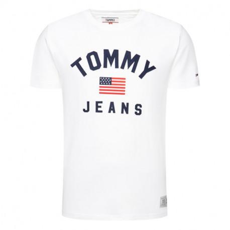 T-shirt col rond Tommy Jeans blanc drapeau USA pour homme