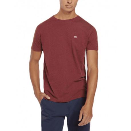 T-shirt col rond Tommy Jeans rouge bordeaux pour homme