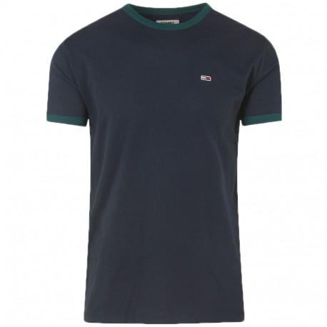 T-shirt col rond Tommy Jeans bleu marine et vert pour homme