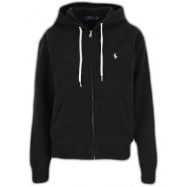 Veste sweat Ralph Lauren noire logo blanc à capuche pour femme