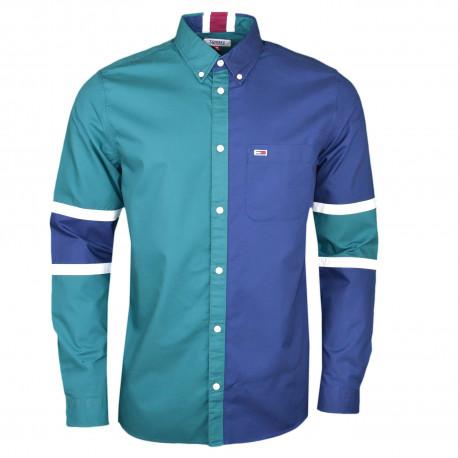 Chemise Tommy Jeans verte et bleu marine pour homme