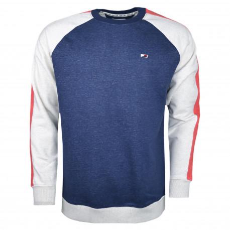 Sweat Tommy Jeans bleu gris et rouge pour homme