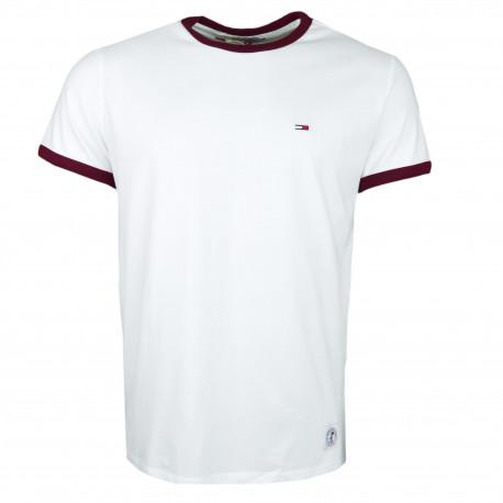 T-shirt col rond Tommy Jeans blanc et rouge bordeaux pour homme