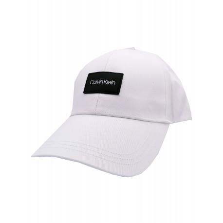 Casquette Calvin Klein blanche logo patch noir pour homme