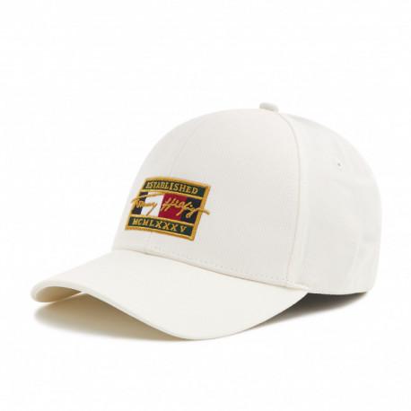Casquette Tommy Hilfiger blanche logo patch doré pour homme