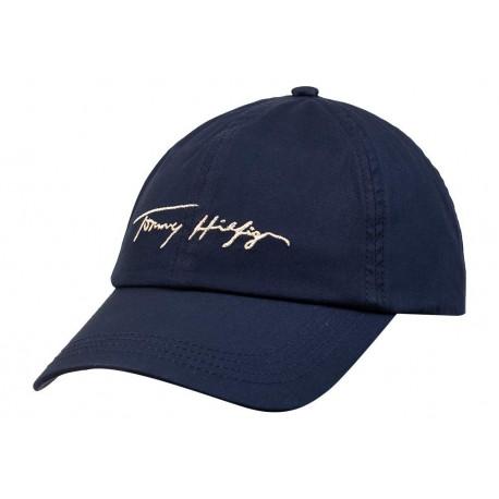 Casquette Tommy Hilfiger bleu marine logo métallisé doré pour femme