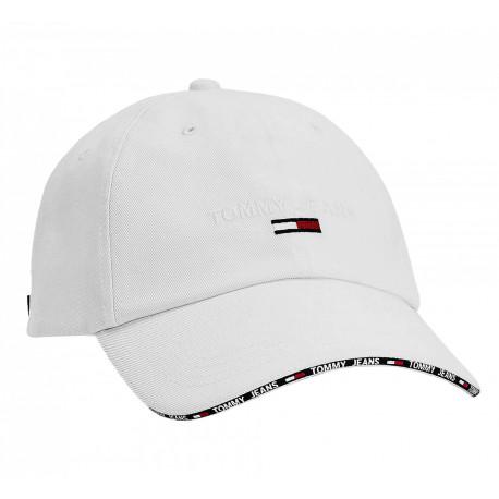 Casquette Tommy Jeans blanche mini flag et contour visière pour femme