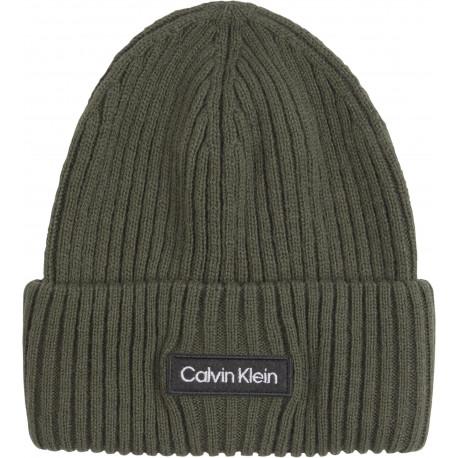 Bonnet Calvin Klein en laine mélangée vert kaki pour homme