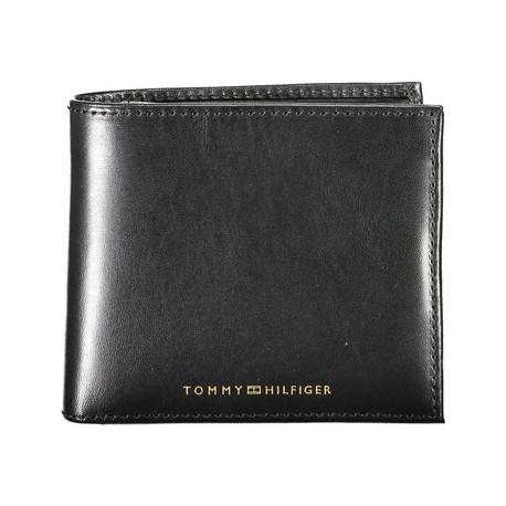 Portefeuille à rabat Tommy Hilfiger en cuir noir pour homme
