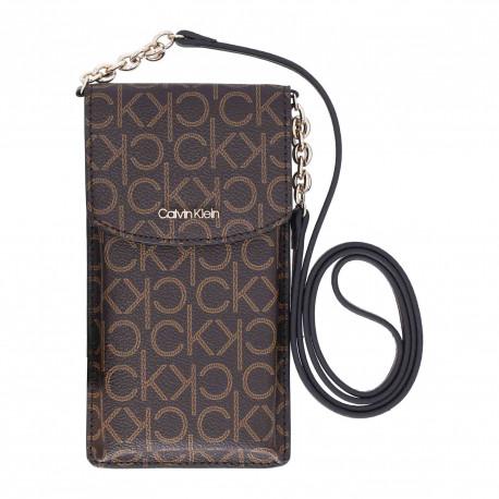 Minaudière en bandoulière pour portable Calvin Klein marron pour femme