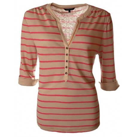 T-shirt Tommy Hilfiger rose et beige Sidney pour femme