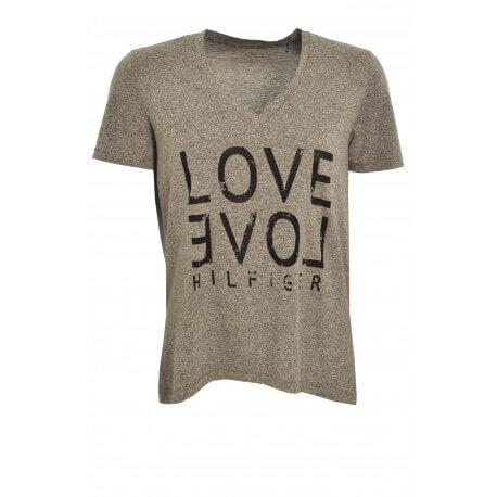 T-shirt Tommy Hilfiger Love gris pour femme