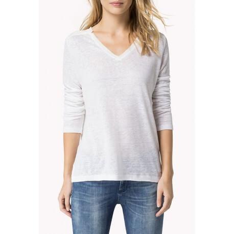 bf01b6926659d T-shirt manches longues Tommy Hilfiger Blyss blanc pour femme - Tou...