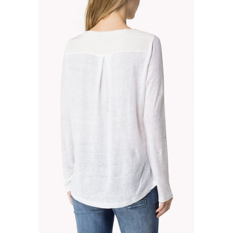 T-shirt manches longues Tommy Hilfiger Blyss blanc pour femme