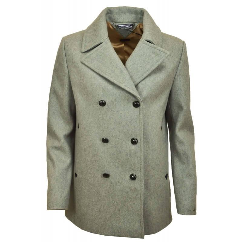 23cf71fcab2 Manteau caban court en laine Tommy Hilfiger Tate gris pour femme - ...