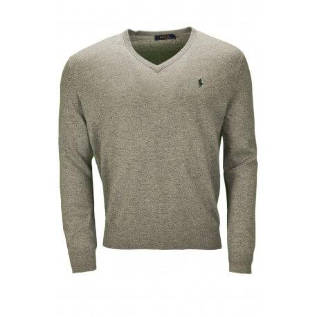 Pull col V Ralph Lauren en laine gris pour homme