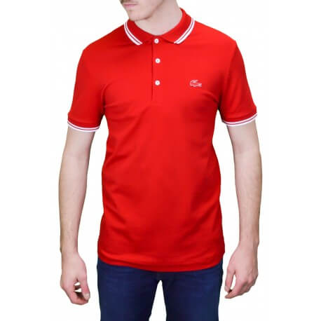 Polo 3 boutons Lacoste rouge pour homme