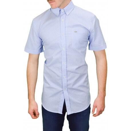 Chemise manches courtes vichy Lacoste bleu pour homme
