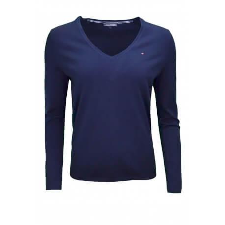 Pull col V Tommy Hilfiger New Ivy bleu marine pour femme aut/hiver