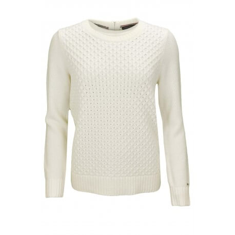 Pull col rond Tommy Hilfiger Gelly blanc pour femme aut/hiver