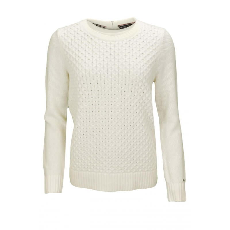 pull col rond tommy hilfiger gelly blanc pour femme toujours au