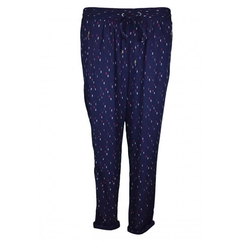 pantalon fluide tommy hilfiger findy imprim bleu marine pour femme. Black Bedroom Furniture Sets. Home Design Ideas