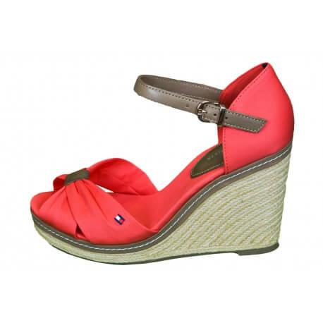 Sandales compensées Tommy Hilfiger Elena rouge hibiscus pour femme