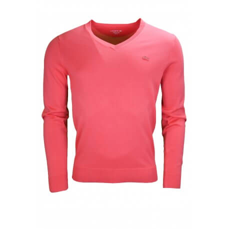 Pull col V Lacoste rouge pour homme