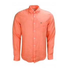 Chemise en lin Lacoste orange pour homme