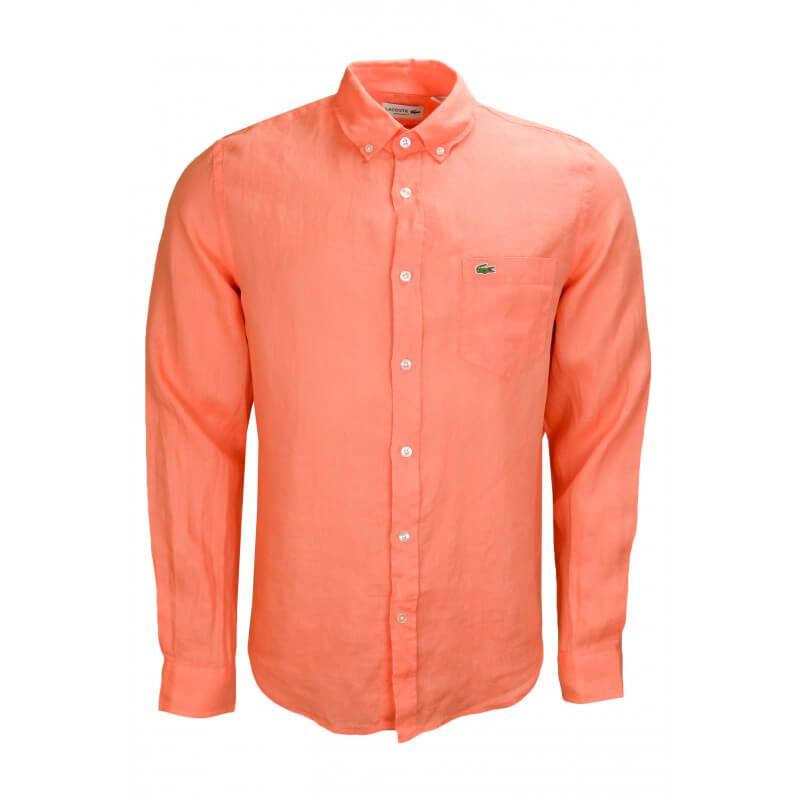 chemise en lin lacoste orange pour homme toujours au. Black Bedroom Furniture Sets. Home Design Ideas