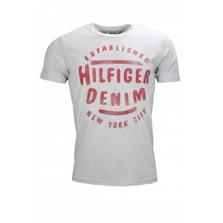 T-shirt col rond Tommy Hilfiger Dénim gris pour homme
