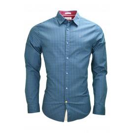 Chemise à carreaux Tommy Hilfiger Dénim Lex bleu marine et noire pour homme