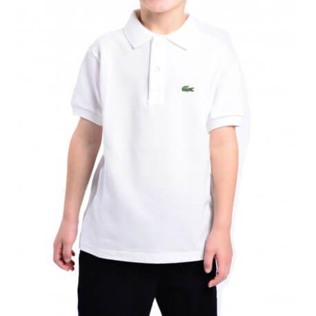 Polo Lacoste L1830 basique blanc pour enfant