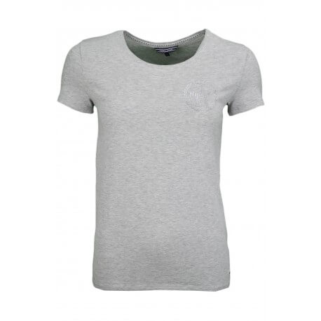 T-shirt Tommy Hilfiger col rond Lizzy gris logo strass pour femme