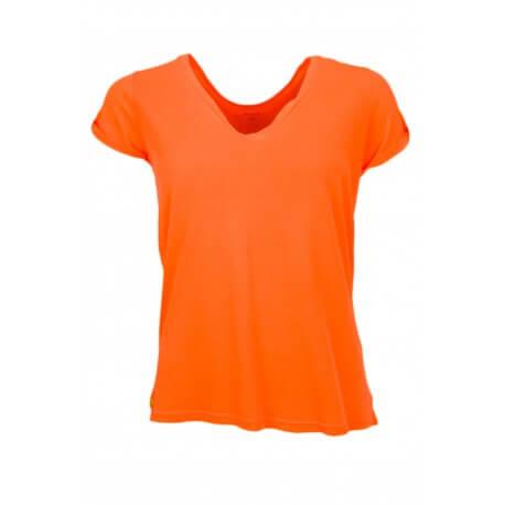 T-shirt Ralph Lauren col V orange pour femme