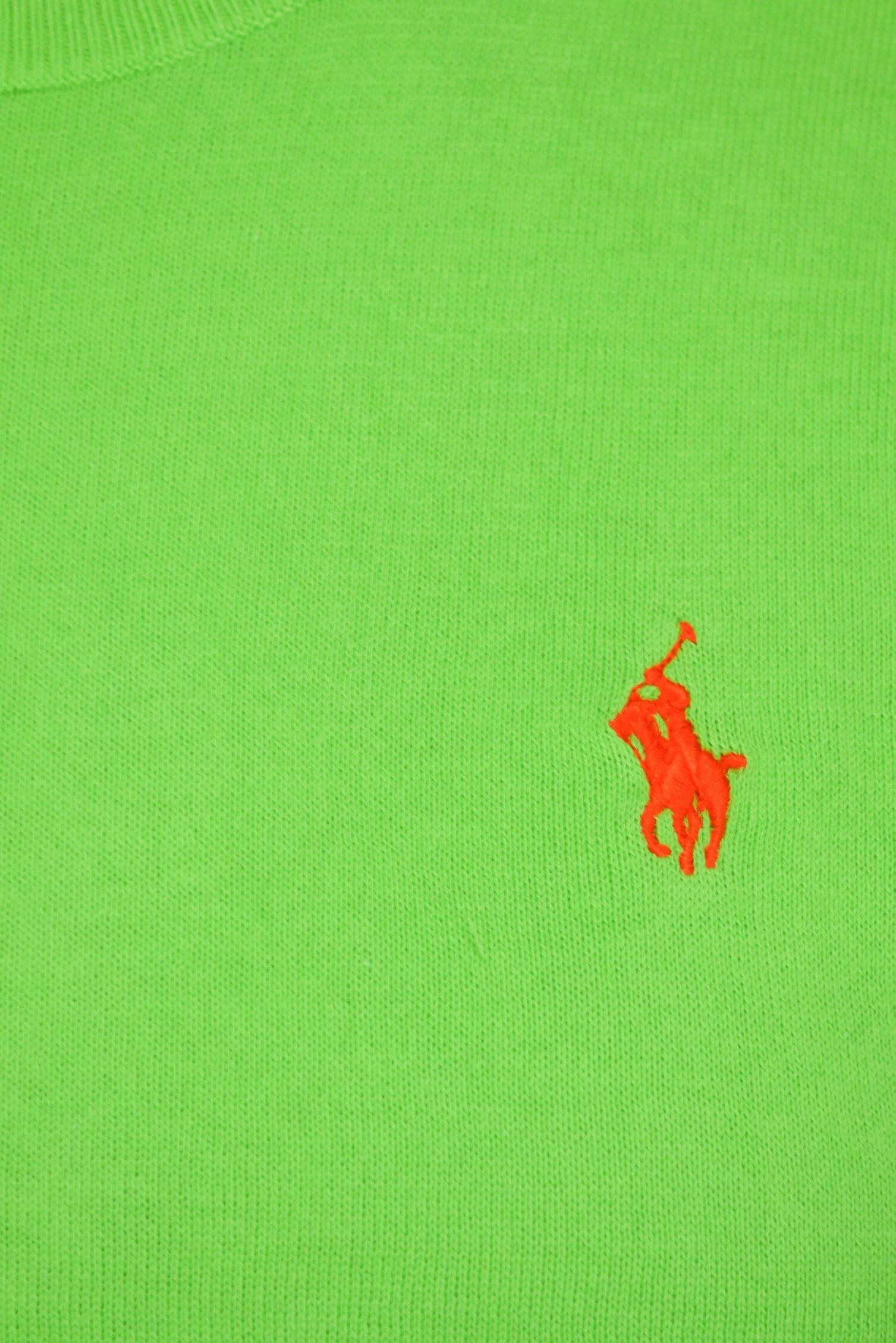 classic styles new arrivals los angeles Pull Ralph Lauren col rond manches courtes vert fluo pour femme - T...