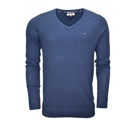 a6cebf0dd2bcb Pull col V Tommy Hilfiger basique bleu marine pour homme - Toujours...