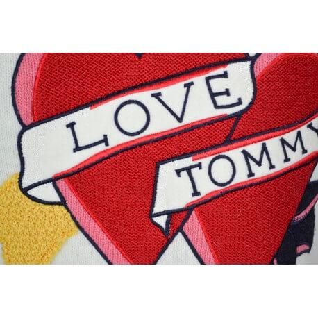 Pull col rond Tommy Hilfiger Bibi Heart crème pour femme