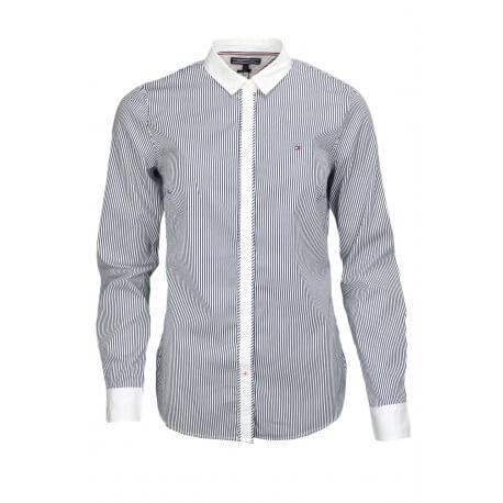 Chemise rayée Tommy Hilfiger Katim bleu marine et blanche pour femme
